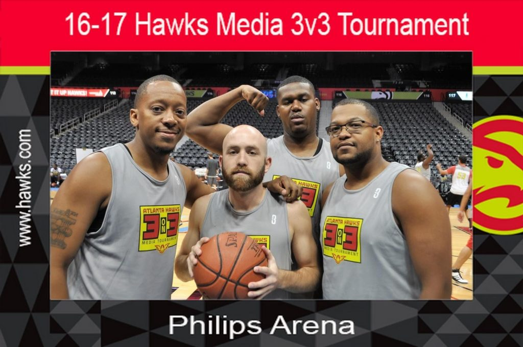 four guys pose for a mag-nificent photo at a hawks media 3v3 tournament