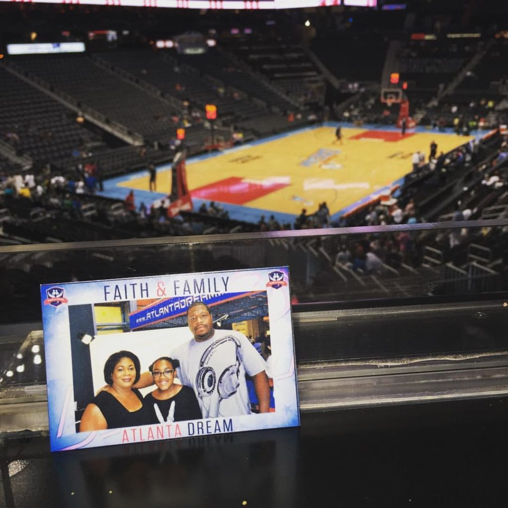a mag-nificent photo magnet is displayed at an atlanta dream game