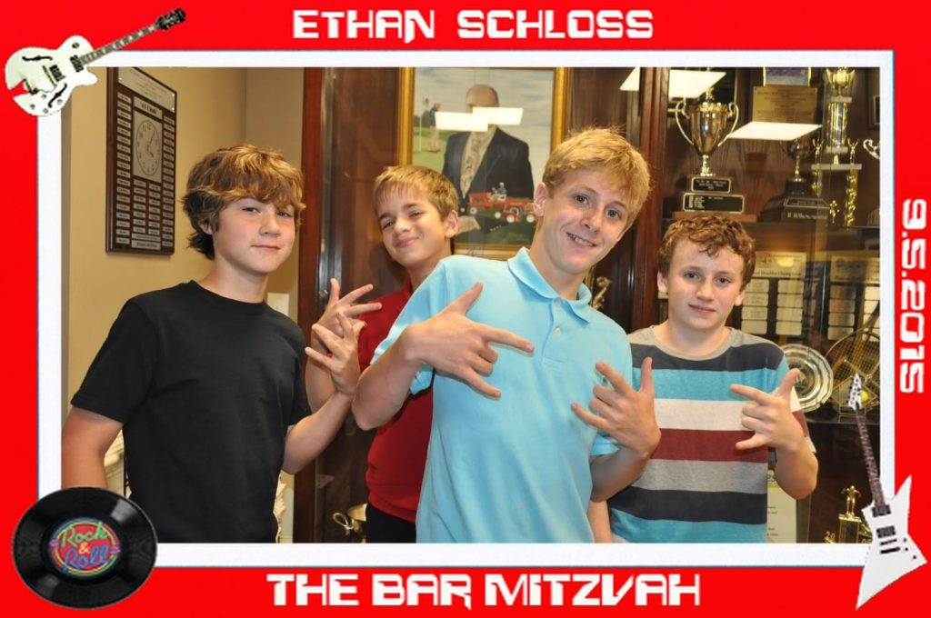 a group of boys pose for a picture at a bar mitzvah