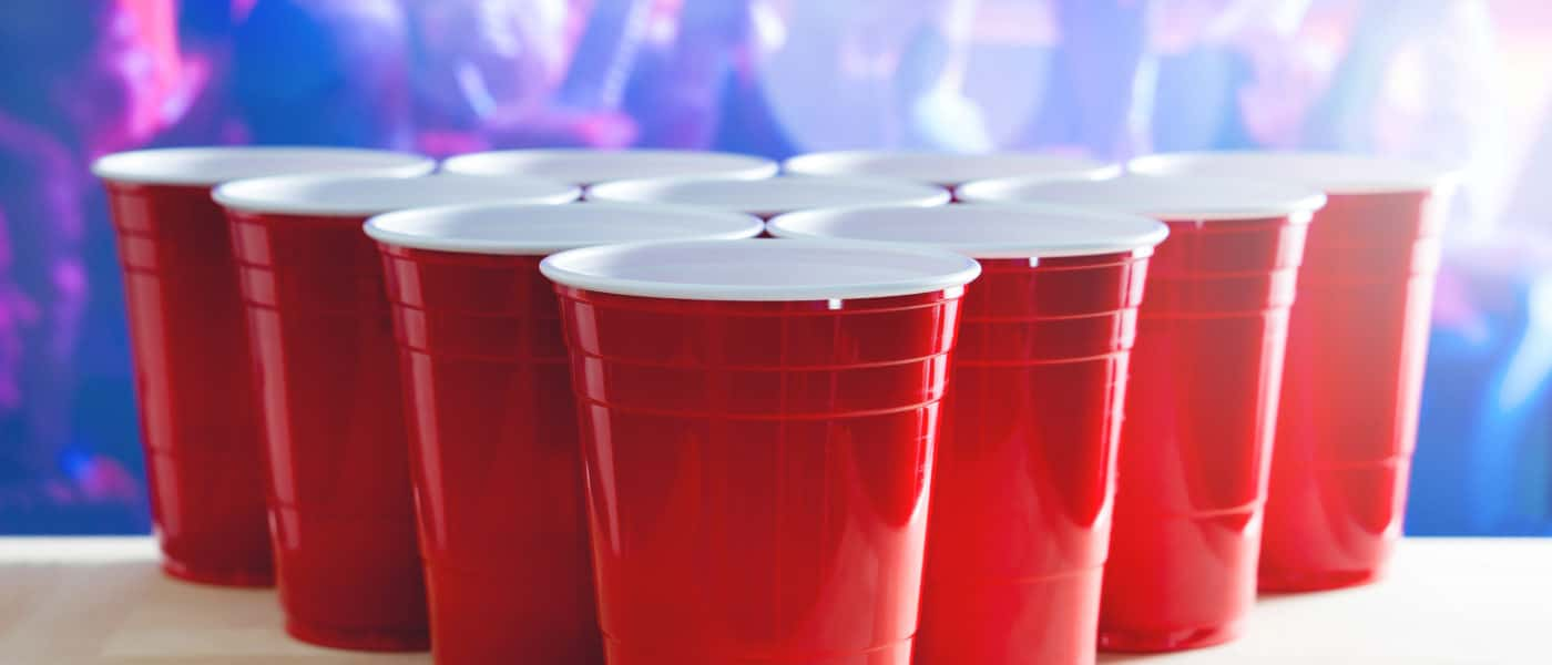 Red solo cups at a college party.