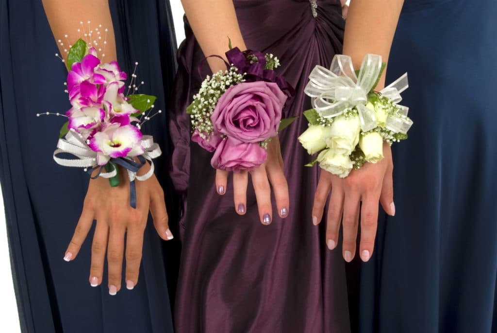 Three girls in prom dresses showing off their corsages.