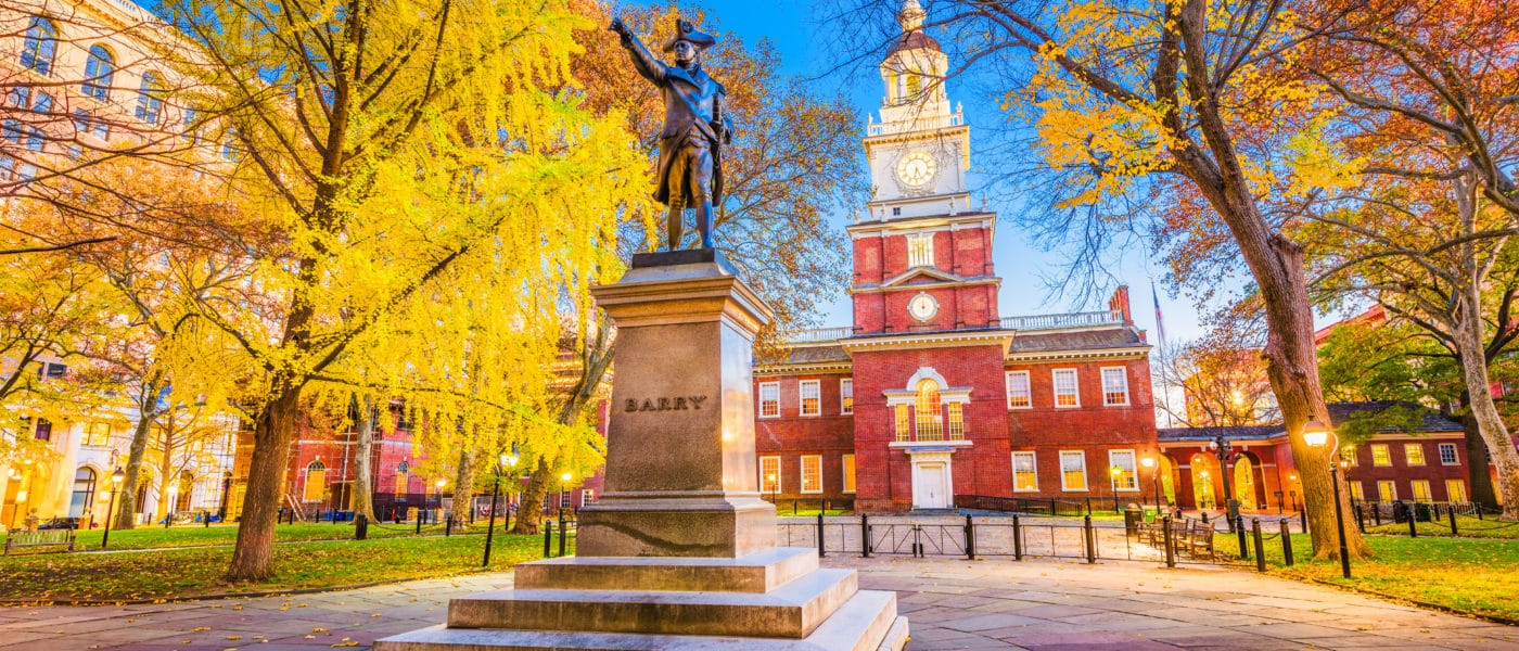 Philadelphia, Pennsylvania, USA at historic Independence Hall during autumn season.